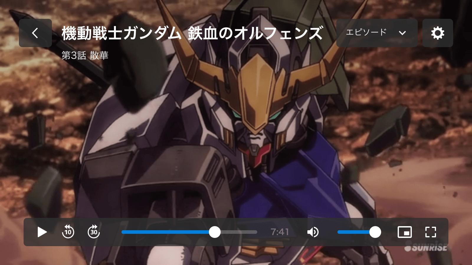 U-NEXTの再生画面